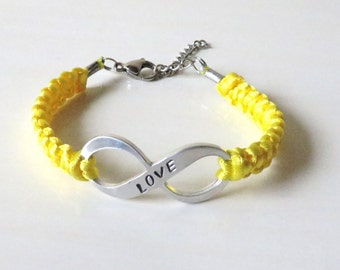 Yellow Awareness LOVE Charm Bracelet Endometriosis Bone Cancer Osteosarcoma Spina Bifida Suicide Liver Diseases Armed Forces Return