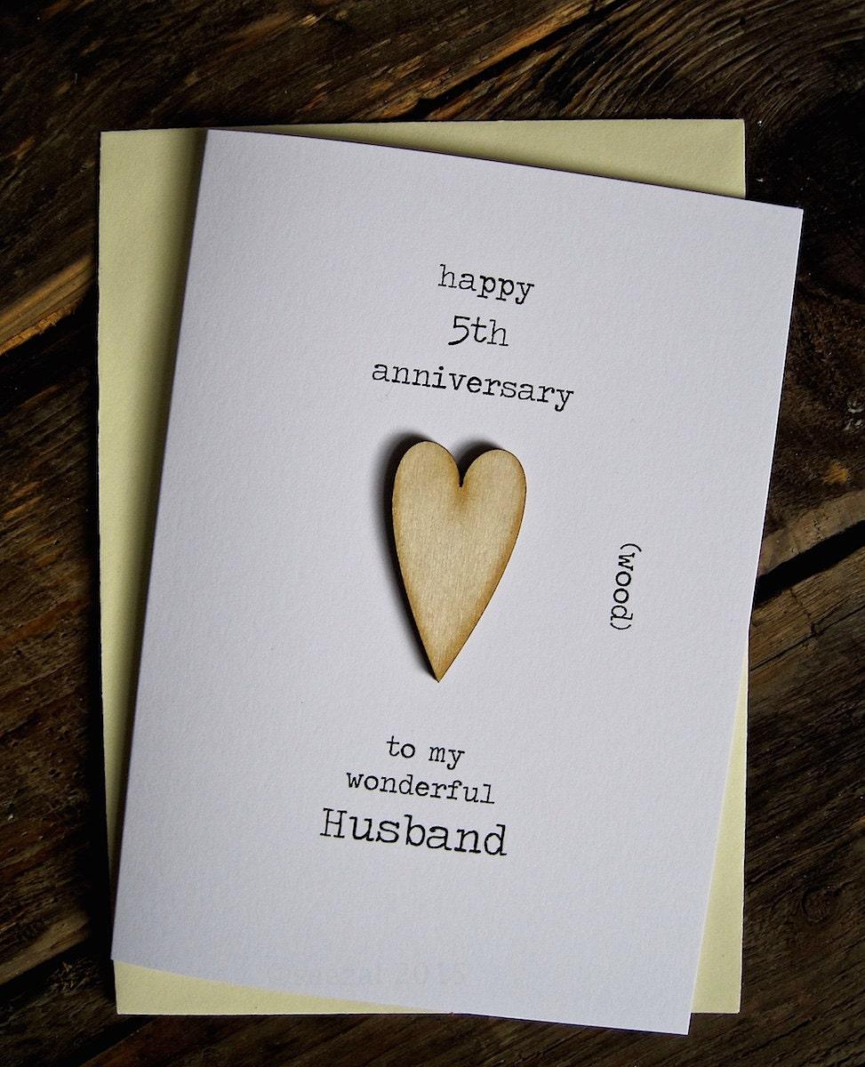 Fifth Year Wedding Anniversary Gift: 5th Wedding Anniversary Card WOOD Traditional Keepaske Gift