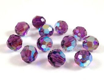 5000 AMETHYST AB 4mm Swarovski Crystal Faceted Round Beads 72 pieces, Purple Amethyst February Birthstone