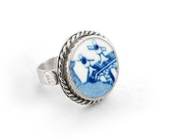 Willow rings, Porcelain jewel, blue china ring, anniversary jewelry