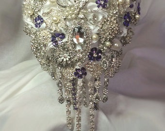 Purple Cascading Brooch Bouquet - Emma - Wedding Bouquet - Bridal Bouquet - Deposit 150.00 - Full Price 375.00