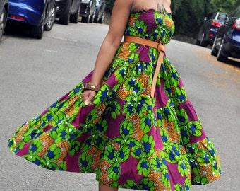 African Print Bohemian Skirt/Dress combo