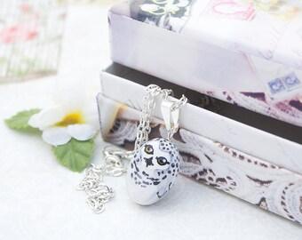 Snowy Owl Pendant Necklace - Handmade Snowy Owl Charm Nature Jewelry