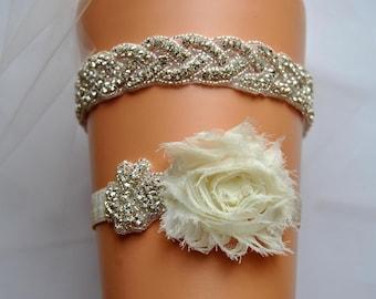 Garter Crystal Bridal Garter Set, Wedding Garter Ivory,Rhinestone Garter, Crystal Rhinestone Garter and Toss Garter Set