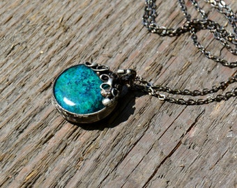 CHRYSOCOLLA, inspired by nature, romantic necklace, boho, statement necklace, rustic necklace, raw, fall necklace, ideal gift, vintage style