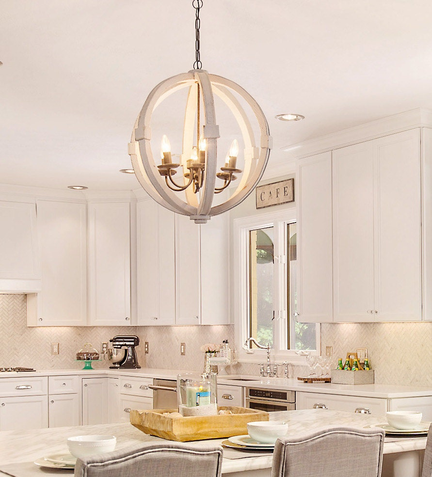 Distressed Wood Chandelier: Antiqued White Distressed Cottage Wood Orb