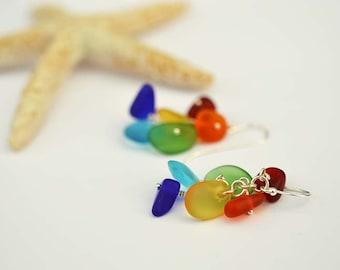 Rainbow earrings colorful sea glass earrings rainbow sea glass earrings sterling silver earrings sterling silver and sea glass handmade gift