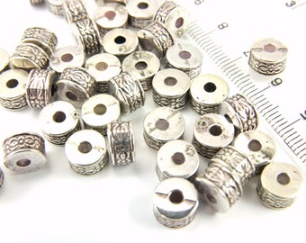 Rondelle Spacer Beads, Antique Silver Acrylic Beads, 50 pcs CCB Material Spacer Bead, Nickel Free, Cheap Bead Findings, Rondelle Beads