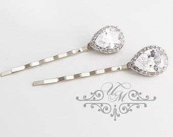Wedding hair accessories Wedding Headpiece Wedding Hair pins AAA Zirconia teardrop hair pins Rhinestone hair pins Bridal hair pins - CARI