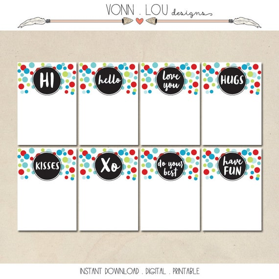 lunch box notes - printable lunch box love notes - hand illustrated design - printable instant download - DIY - 8 assorted designs - modern