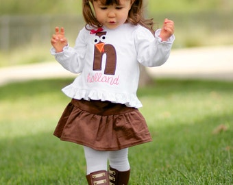 Girl Thanksgiving Outfit with Turkey Shirt and Corduroy Skirt