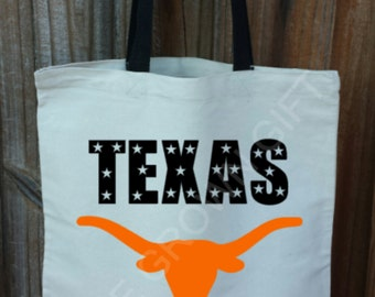 Texas Tote Bag, Texas Bag, Texas Tote, Texas Longhorns, Longhorn Skull, University of Texas, Canvas Tote Bag.