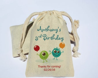 Monster Birthday Party Cotton Muslin Bag - Party Favor Bag