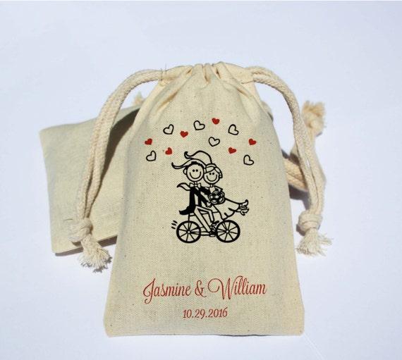 Wedding Cotton Muslin Bag - Wedding Party Favor Bag - Bicycle theme
