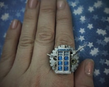 "Steampunk ""Time Lord"" Dr Who Inspired Blue and Silver Police Box Adjustable Brass Ring"