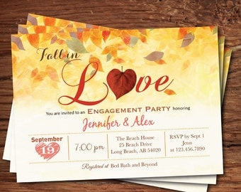 Fall in love engagement party invitation. Autumn leaves, heart. Thanksgiving engagement party, couple shower printable digital invite. TX018