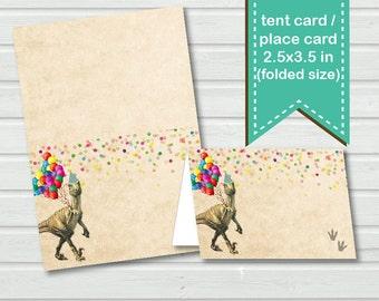 Dinosaur Food tent card, buffet tent card, place card. Instant download. Vintage rustic dinosaur. DIY digital file. KB141