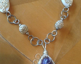 Purple and Flowers Necklace