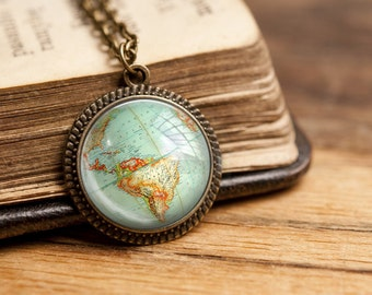 vintage GLOBE WORLDMAP No4 necklace pendant map city vintage