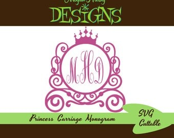 Princess Carriage Monogram SVG