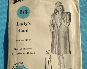Vintage Blackmore 1940s sewing pattern for Ladies coat