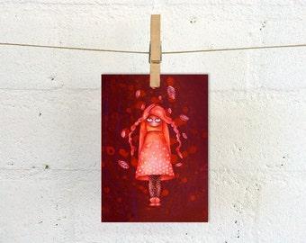 Creepy cute art card, fairytale big eyed autumn girl, fantasy post card, art postcards, lowbrow pop surreal oil painting, Scandinavian folk