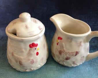 Vintage Siaki rooster or hen cream and sugar set