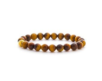 Yellow Tiger Eye Bracelet/ Gold Tiger Eye Bracelet/ 8mm Tiger Eye Bracelet/ Tiger Eye Jewelry/ Small Tiger Eye Bracelet