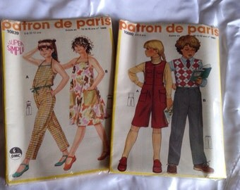 1970's Patron de Paris patterns Child sized Dress and Pants