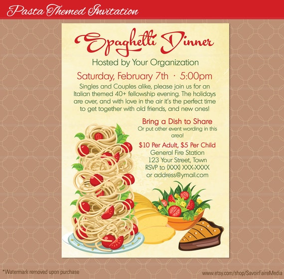 Pasta Dinner Flyer Poster / Spaghetti Italian Night Dinner /