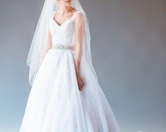 ZOE VEIL | embroidered edge fingertip veil with blusher, bridal veil, wedding veil, fingertip length veil, bridal illusion tulle