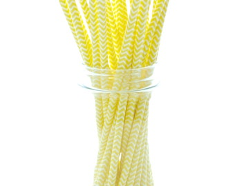 Yellow Straws, Long Drinking Straws, Fun Paper Straws, Yellow Chevron Straws, 25 Pack - Yellow Chevron