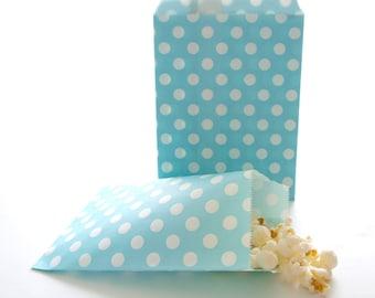 Wedding Favor Bags, Grab Bag Gift Ideas, Polka Dot Candy Bags, Blue Treat Bags, Candy Buffet Bags, 25 Pack - Light Blue Polka Dot Favor Bags
