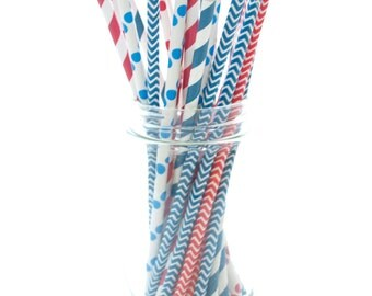 4th of July Red, White & Blue Straws, USA Patriotic Straws, Designer Independence Day Straws, 25 Pack - July 4th Straws