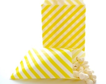 Yellow Gift Bags, Popcorn Paper Bag, Birthday Party Goodie Bags, Yellow Candy Bags, 25 Pack - Yellow Stripe Party Bags