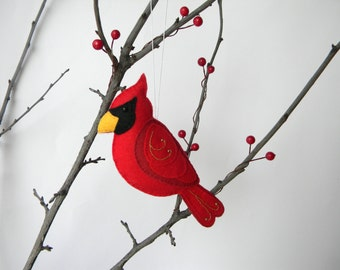 Felt Cardinal Ornament - Felt Christmas Ornament - Cardinal bird ornament- Red bird, Christmas decoration, Embroidered tree decoration