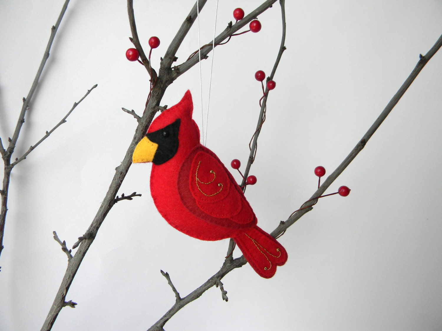 Felt Cardinal Ornament Felt Christmas Ornament Cardinal