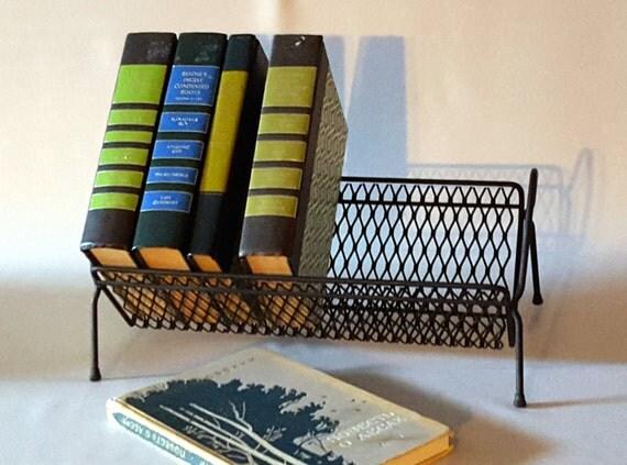 Vintage Desktop Bookshelf Mid Century Black Metal Book