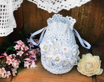 Bridal white purse,Great Gatsby crochet purse,Crochet bridesmaid bag for vintage wedding,Retro crochet bag, Handmade wedding bag, Bridal bag