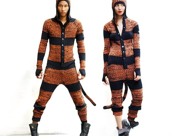 TIGER Festival Pajamas - Adult Jumpsuit for Men and Women - Bendable Tail - Three Pockets - Knit One Piece Kigurumi PJ's - Burning Man Gear