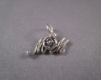 Mom With Rose .925 Sterling Silver Charm