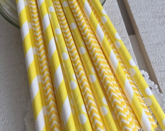 Yellow Paper Drinking Straws | Paper Drinking Straws, Party Supplies, Bridal Shower, Baby Shower, Ecofriendly Party Supplies 010