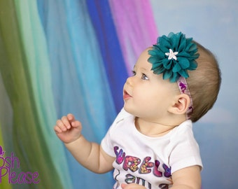Mermaid Theme Headband Starfish Headband Mermaid Headband Newborn Headband Purple & Teal Headband Mermaid Starfish Headband Infant Headband