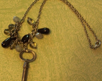 Silver tone necklace pendant beads vintage key