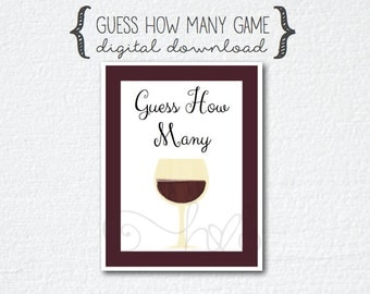 """Wine Theme Bridal Shower Game - """"Guess How Many"""""""