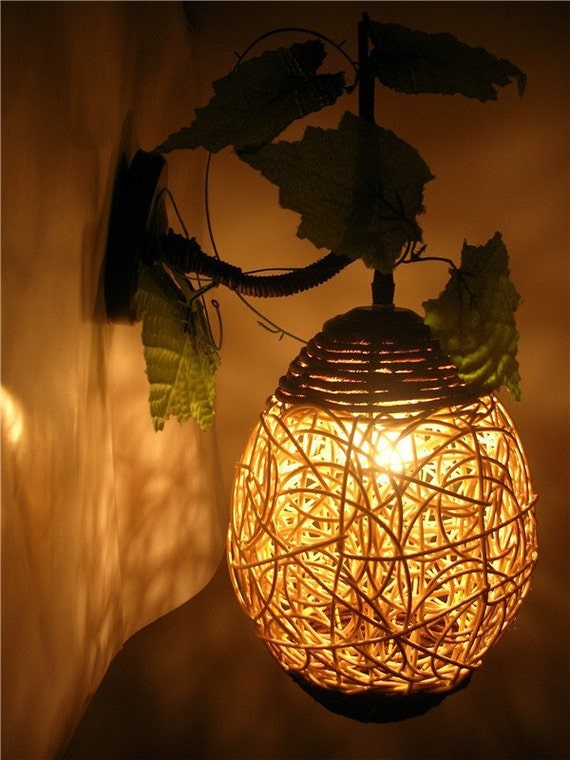 Handmade woven rural cany art creative wicker wall lamp like this item aloadofball Image collections