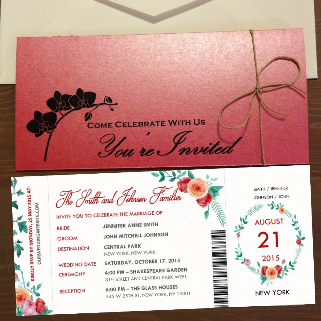 Ticket Style Wedding Invitations Romantic Garden Wedding