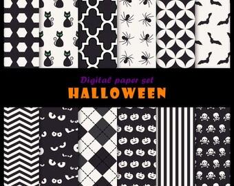 Halloween 12 digital papers set