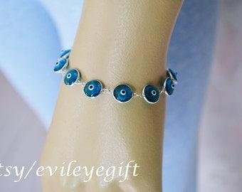 Blue Evil Eye Bracelet 925 Sterling Silver, Evil Eye Jewelry, Turkish Evil Eye, Greek Evil Eye, Evil Eye Turkey, Arrives in white gift box!