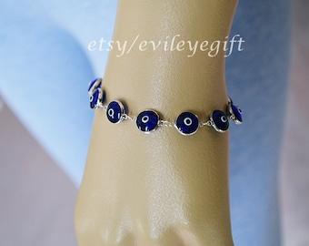 Dark Blue Evil Eye Bracelet 925 Sterling Silver, Turkish Evil Eye, Greek Evil Eye, Evil Eye Turkey, Arrives in white gift box!
